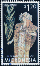 Actress Sarah Benhardt Designed By Alphonse Mucha On Stamp