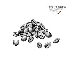 Coffee Set. Hand Drawn Coffee Bean Pile. Freshly Roasted Or Raw Grain Heap. Vector Engraved Icon. Morning Fresh Drink. For Restaurant And Cafe Menu, Coffee Shop Flyer, Banner Design Template.