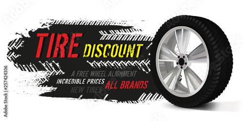 Fotomural Vector tire sale banner