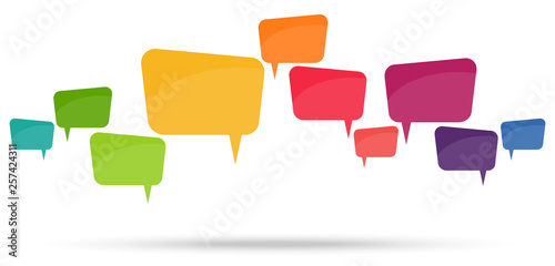 Fotografie, Obraz  colored speech bubbles in a row