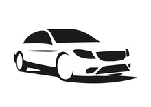 Logo, Black Silhouette Of Car