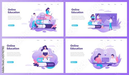 Fotografia Online education web banner set. Idea of distance