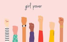 Women's Hands. Girl Power. Feminism Symbol.