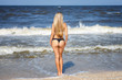 beautiful woman standing on the beach in a swimsuit, looking at the sea, beautiful long hair in the wind