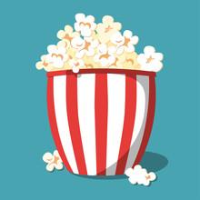 Popcorn Icon Design. Popcorn Box Isolated On Background. Vector Illustration.