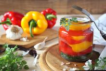 Pickled Salad Bell Pepper In Jar And Ingredients