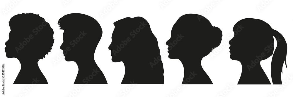 Fototapeta Frauen Silhouetten Set