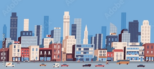 Obraz Urban landscape or cityscape with buildings, skyscrapers and transport riding along road. Big city life. Street view of modern residential area. Colorful vector illustration in flat cartoon style. - fototapety do salonu