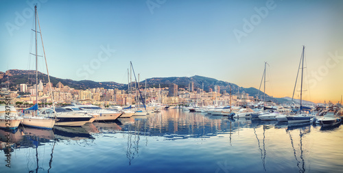 Morning panorama of port Hercule in Monaco
