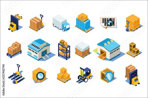 Fototapeta Warehouse icons set, storage equipment, warehouse building, forklift, storage racks, pallets with goods vector Illustrations on a white background obraz