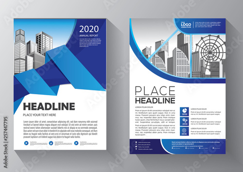 Fototapeta Brochure design, cover modern layout, annual report, poster, flyer in A4 with colorful triangles, geometric shapes for tech, science, market with light background obraz na płótnie