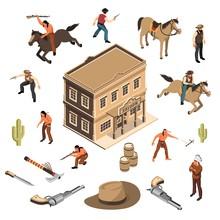Wild West Cowboys Isometric Set