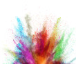 Multi colored powder explosion on white background