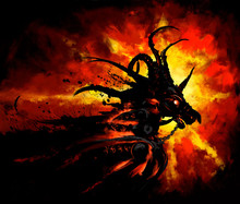 The Fiery Knight Of Chaos In Plate Armour On The Background Of The Infernal Sun