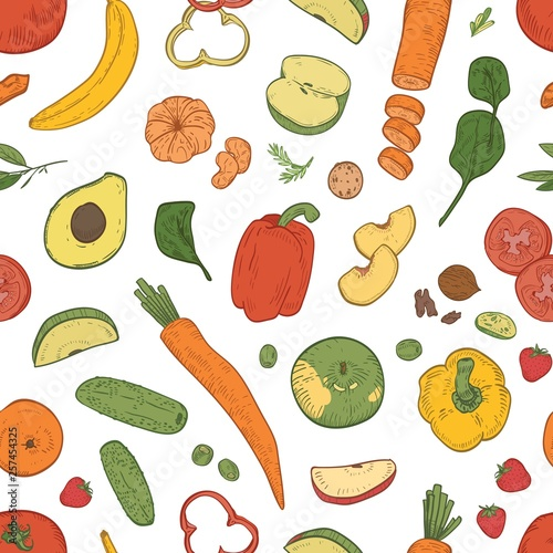 Elegant Seamless Pattern With Healthy Nutrition Fresh Dietary Food Eco Natural Organic Fruits Berries And Vegetables On White Background Realistic Vector Illustration For Wallpaper Fabric Print Buy This Stock Vector And