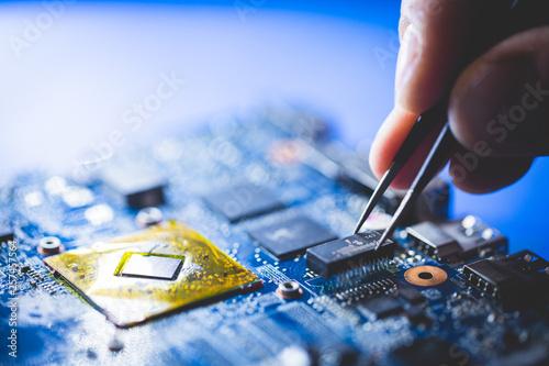 Fotomural  Microchip installation on CPU board