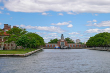 View Of The Ellis Island For Landscape From The Ferry Boat At New York,USA