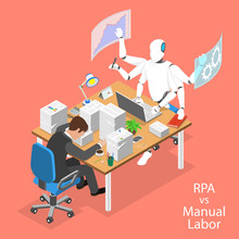 Isometric Flat Vector Concept Of RPA Vs Manual Labor, Robotic Process Automatisation, RPA, AI, Artificial Intelligence, Machine Learning.