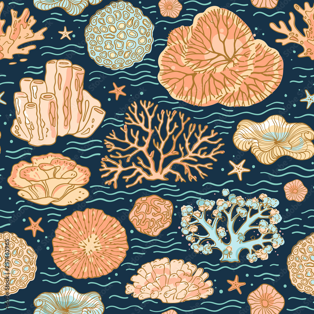 Colorful background for the design and decoration of fabrics, wallpapers, home textiles, packaging, and surfaces. Seamless vector pattern on the marine theme with beautiful corals.