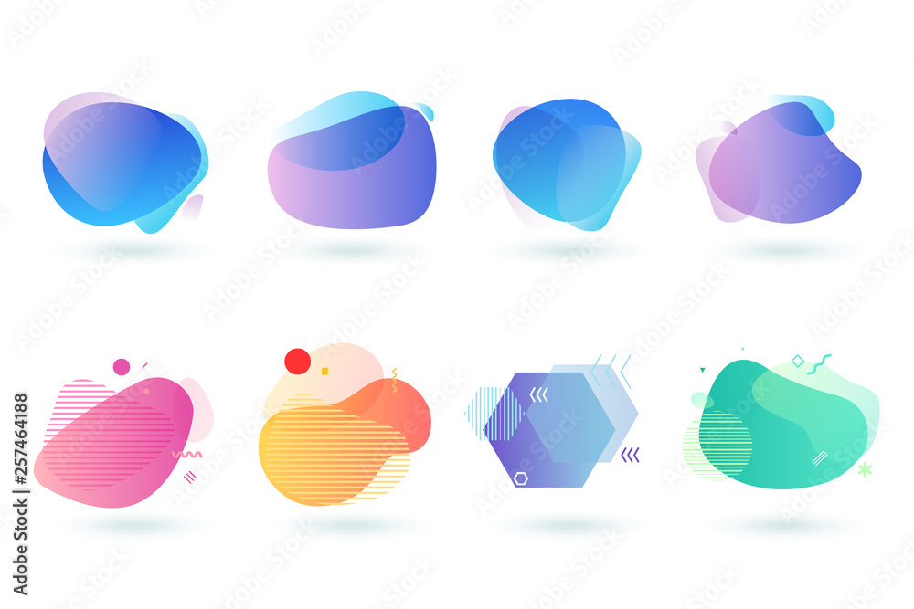 Fototapeta Set of abstract graphic design elements. Vector illustrations for logo design, website development, flyer and presentation, background, cover design, isolated on white.