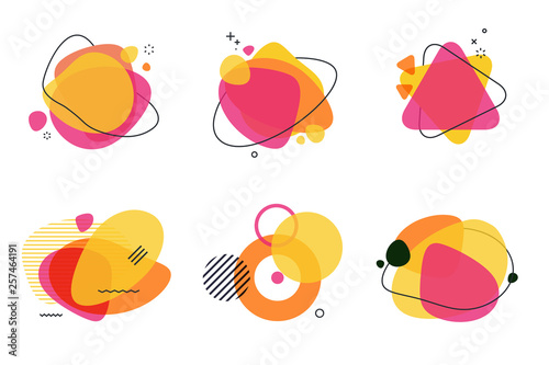 Set of abstract graphic design elements. Vector illustrations for logo design, website development, flyer and presentation, background, cover design, isolated on white. - fototapety na wymiar