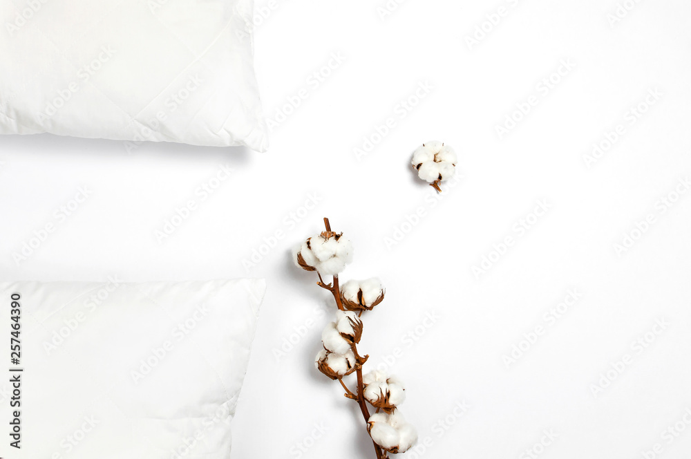 Fototapety, obrazy: Soft white quilted pillow and branch of cotton on light background top view. Clean pillow, interior item, bedding mockup design template
