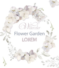 White Flowers Wreath Watercolor Vector. Beautiful Wedding Invitation, Ceremony, Save The Date, Greetings