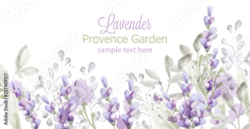 Canvas Print Lavender card Vector watercolor