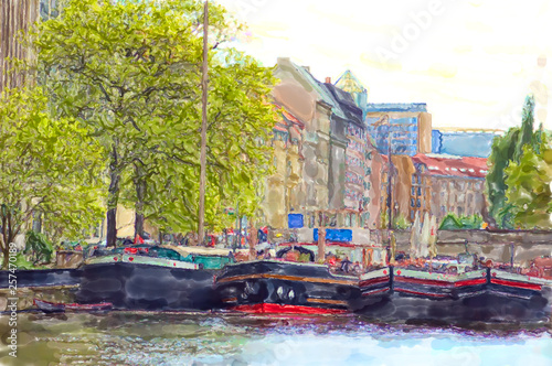 Leinwand Poster Watercolor illustration of Berlin historical harbor with old barges