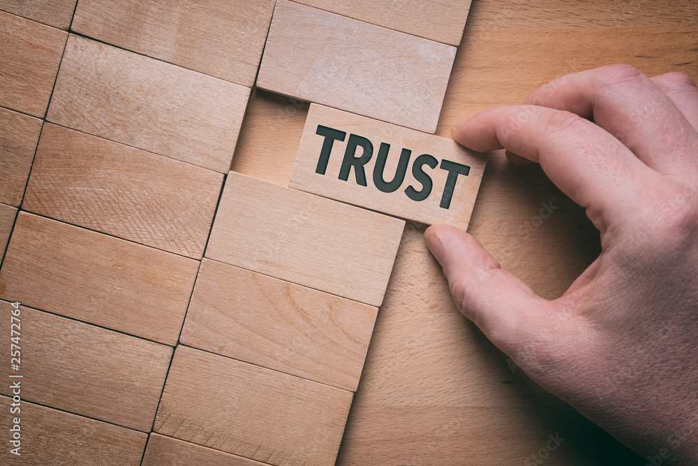 Fototapeta Trust word written on wooden block. Building trust business concept.