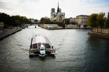Sightseeing Boat On Seine River, Paris, France