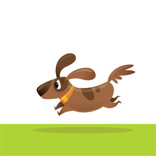 Cute Happy Cartoon Brown Pet Dog Running Excited Vector Illustration