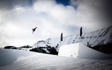 A Skier Flies Off A Jump In Montana.