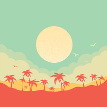 Tropical Island Paradise Background With Palms Silhouette And Sky