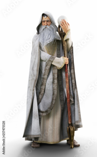 Portrait of a hooded grey cloaked wizard holding his magical staff on an isolated white background Wallpaper Mural