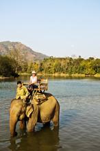 Elephant Ride On Khan River, Luang Prabang, Laos