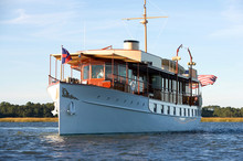 Luxury Yacht Designed By John Trumpy And Built In 1926 By Mathis Yacht Building Company In Camden, New Jersey, Motors Along The Coast Of South Carolina.