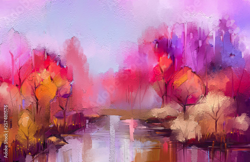 Poster Lilas Oil painting colorful autumn trees. Semi abstract image of forest, landscapes with yellow - red leaf and lake. Autumn, Fall season nature background. Hand Painted Impressionist, outdoor landscape