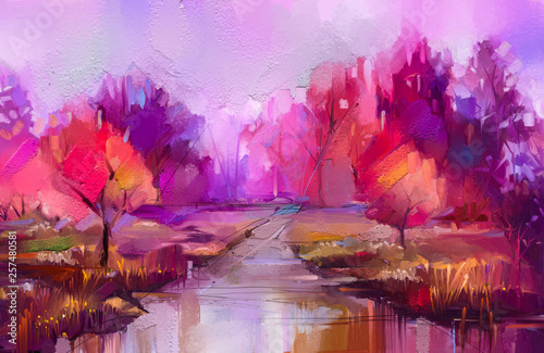 Tuinposter Purper Oil painting colorful autumn trees. Semi abstract image of forest, landscapes with yellow - red leaf and lake. Autumn, Fall season nature background. Hand Painted Impressionist, outdoor landscape