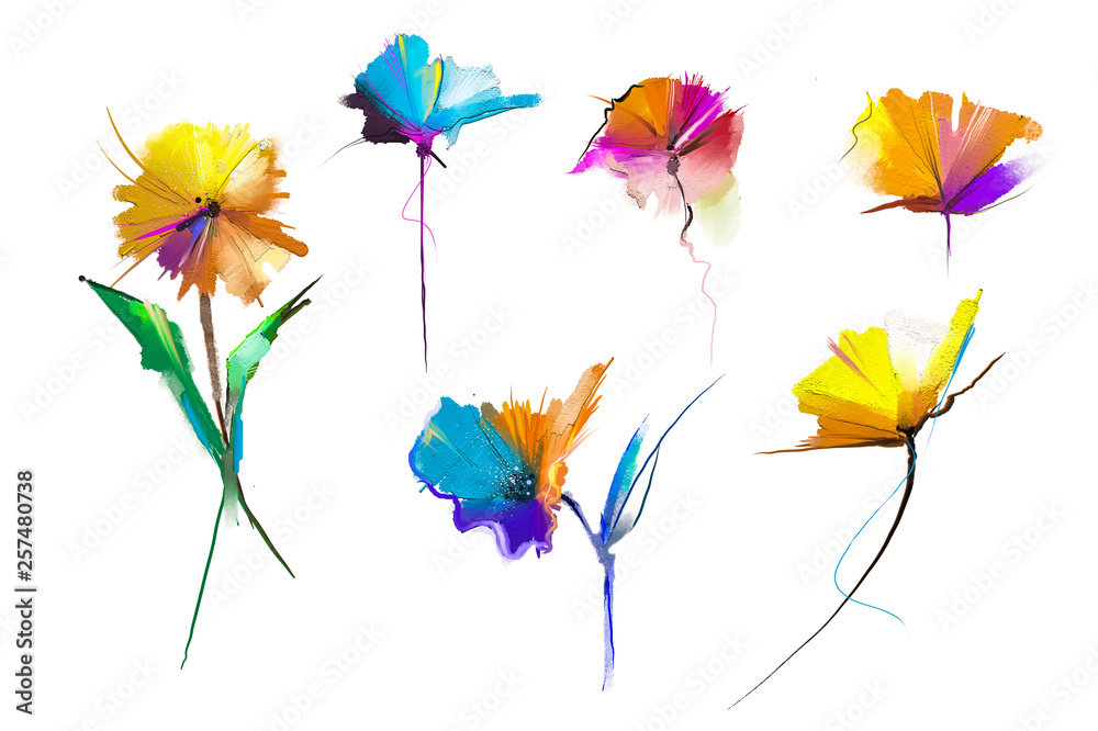 Fototapety, obrazy: Abstract oil painting flower and leaf. Illustration isolated of spring, summer flowers paint design over white background. Botanical foliage plants, floral blossom background for greeting card