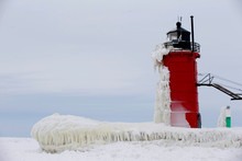 South Haven, Michigan Lighthouse Is Frozen On The Shores Of Lake Michigan. It Dates Back To 1872.