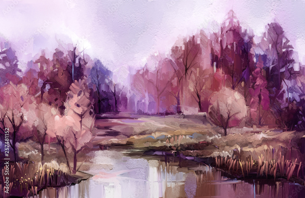 Fototapeta Oil painting colorful autumn trees. Vintage paint color image of landscape, forest with yellow, red leaf and lake. Autumn, Fall season nature background. Hand Painted Impressionist, outdoor landscape
