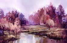 Oil Painting Colorful Autumn T...