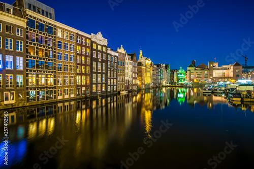 Photo  Damrak by night (Amsterdam)