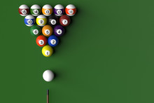 3D Rendering Of Billard Balls Arranged In A Pool Table By Numeric Order