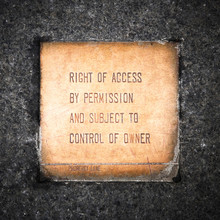 Right Of Access Sign.