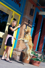 Woman Feeding Dog Ice Cream
