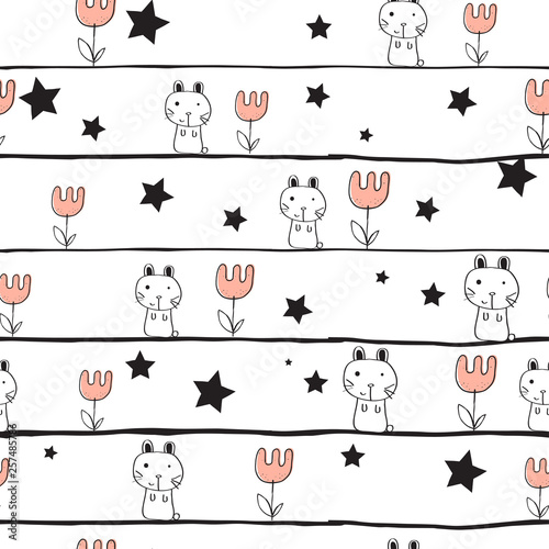 Poster Retro sign cute seamless kids pattern