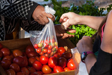 Customer Paying For Cherry Tomatoes At Market