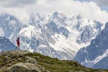 Girl Trail Running In Chamonix...
